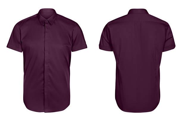 manga curta de mens clássico camisa violeta isolado fundo branco - foto de acervo
