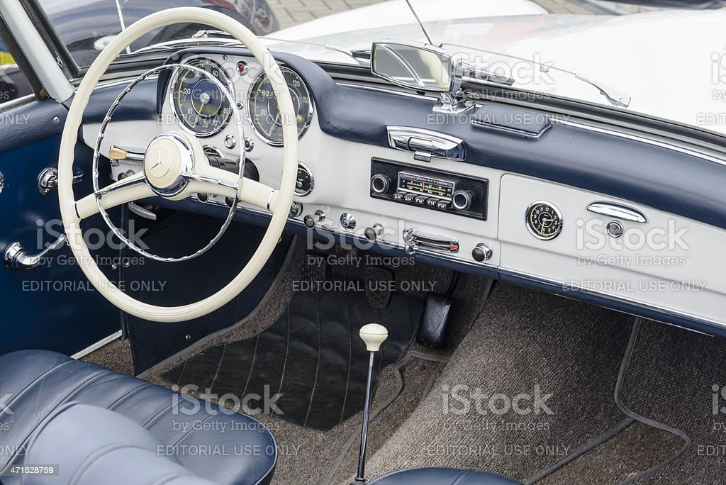 Classic Mercedes Benz interior stock photo