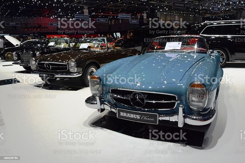 Classic Mercedes-Benz roadsters and cabriolets on the motor show stock photo