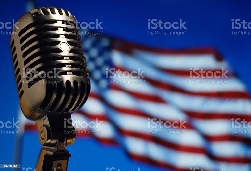 Classic Microphone with American Flag royalty-free stock photo