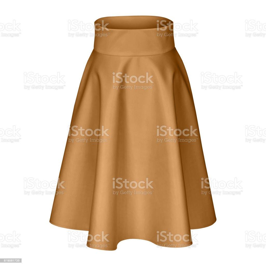Classic midi brown beige silk satin skirt isolated on white stock photo