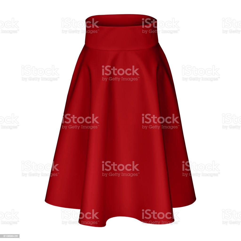 Classic midi burgundy crimson silk satin skirt isolated on white stock photo