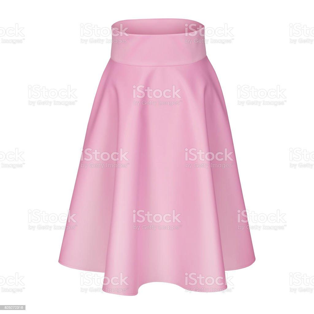 Classic midi pale pink  silk satin skirt isolated on white stock photo