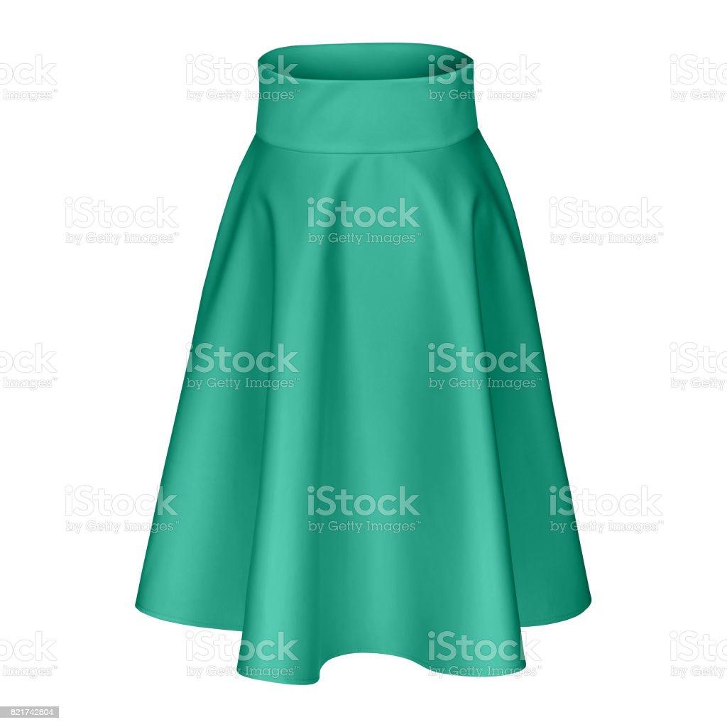 Classic midi sea color silk satin skirt isolated on white stock photo