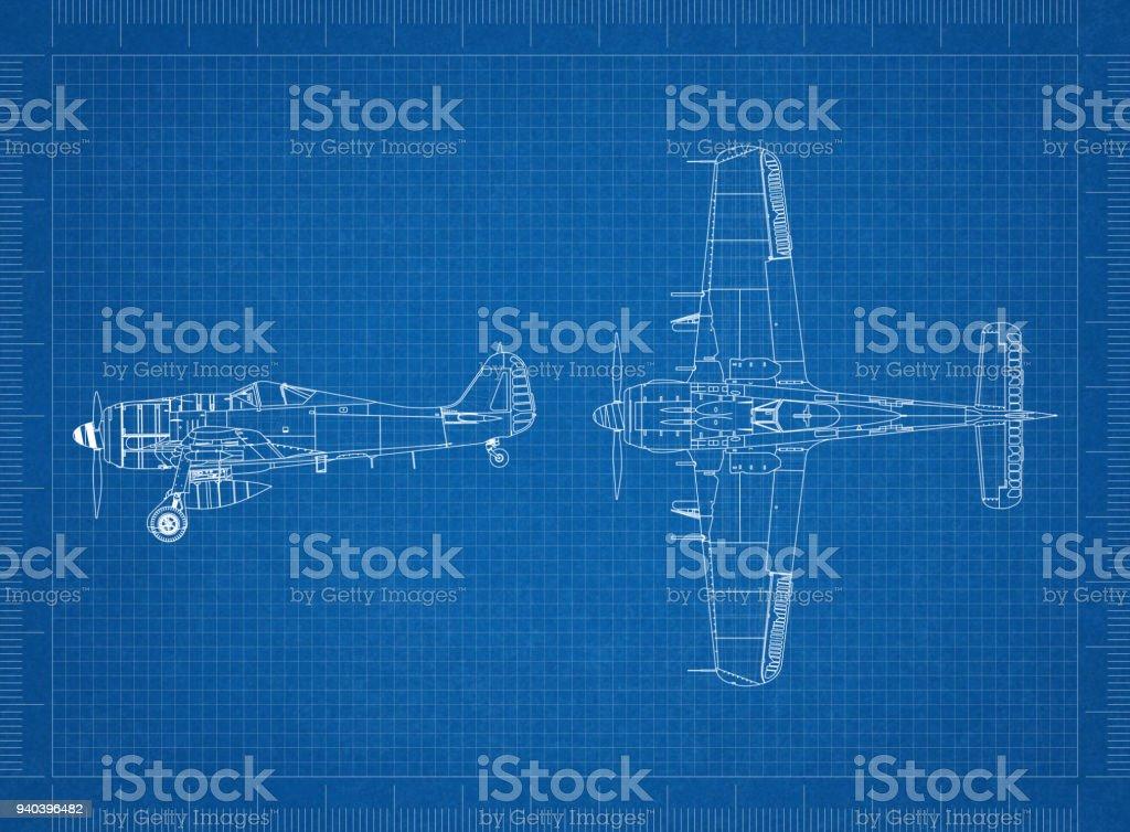 Classic Military plane blueprint stock photo