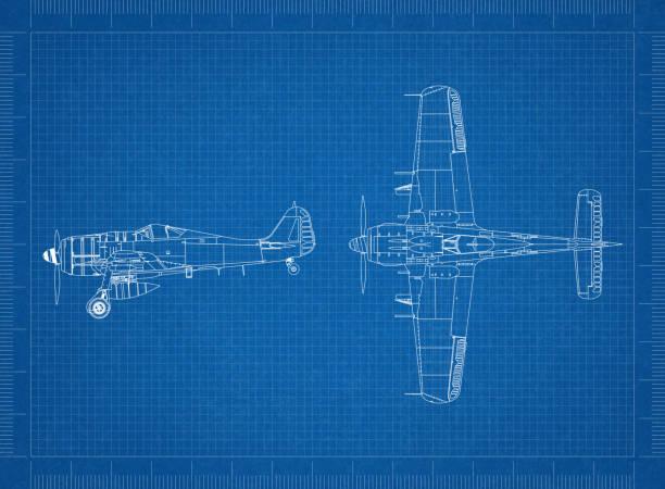 Klassische Militärflugzeug Blaupause – Foto