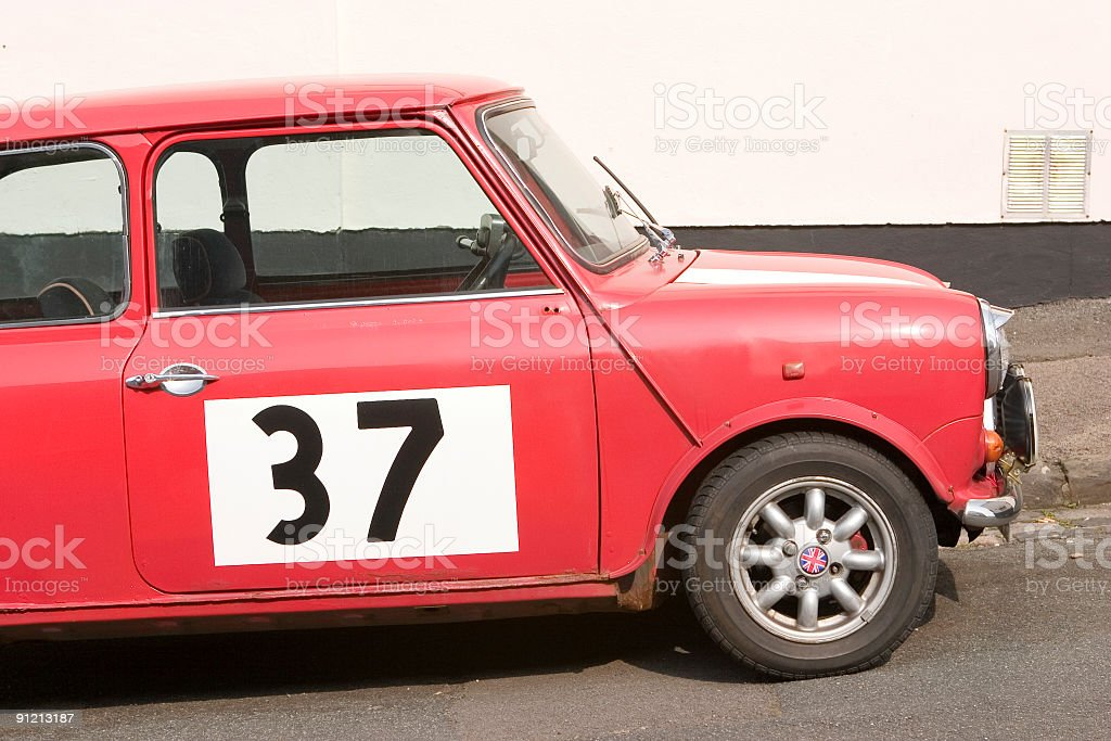 classic mini car with number thirty seven on the side royalty-free stock photo
