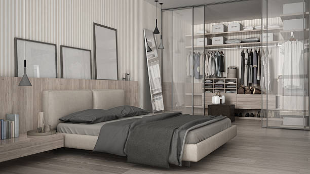Classic minimal bedroom with walk-in closet - foto de stock