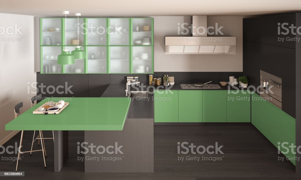Classic Minimal Gray And Green Kitchen With Parquet Floor ...