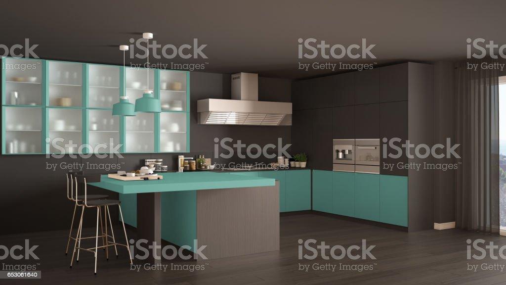 Klassische Minimale Grau Und Turkis Kuche Mit Parkett Moderne
