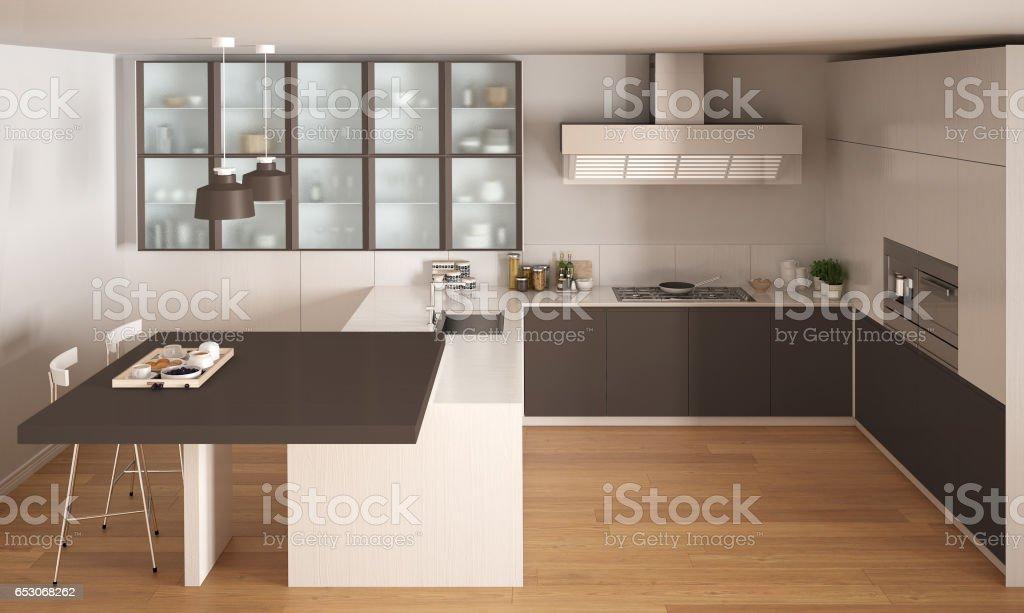 Wunderbar Klassische Minimale Weiße Und Braune Küche Mit Parkett, Moderne  Innenarchitektur Lizenzfreies Stock Foto