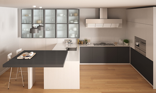 Classic Minimal White And Gray Kitchen With Parquet Floor Modern Interior Design Stock Photo Download Image Now Istock