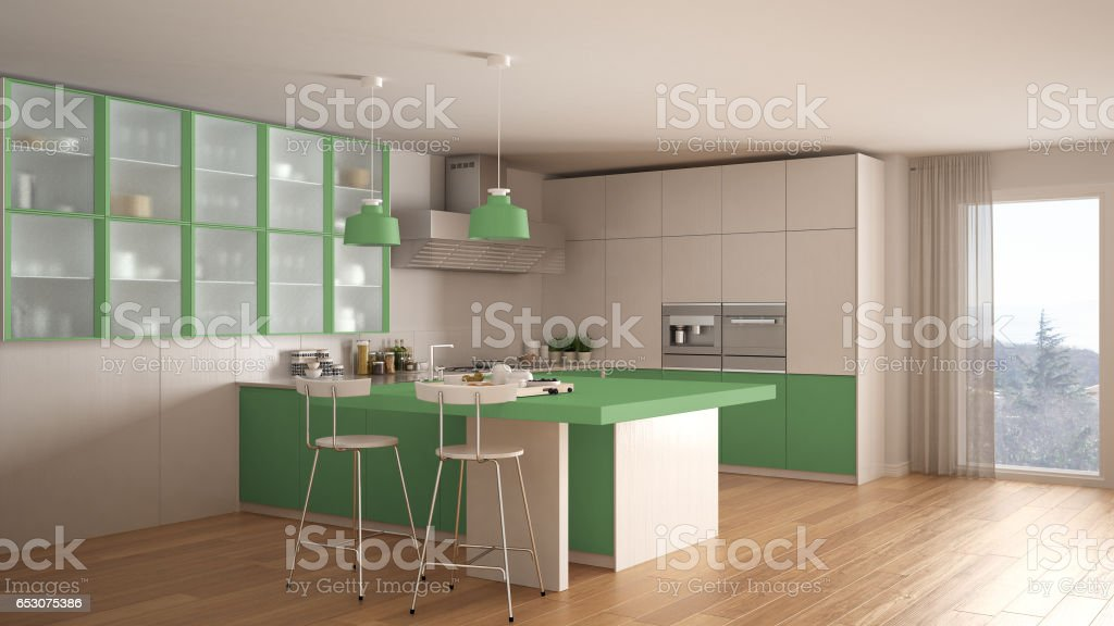 Classic Minimal White And Green Kitchen With Parquet Floor ...