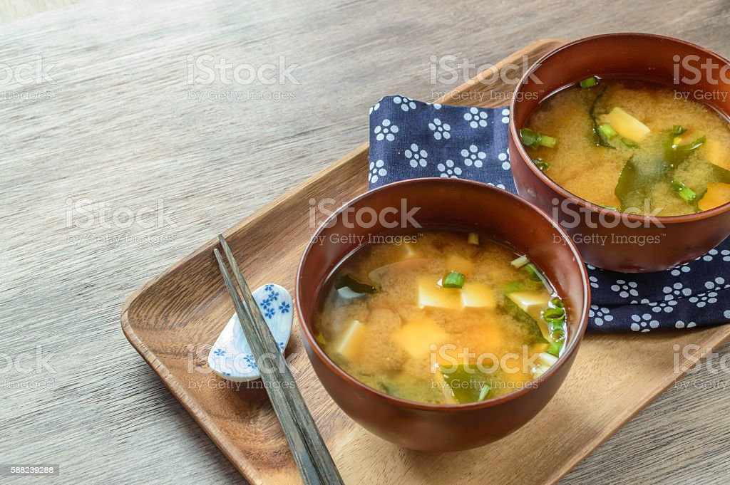 classic miso soup with tofu and wakame seaweed stock photo