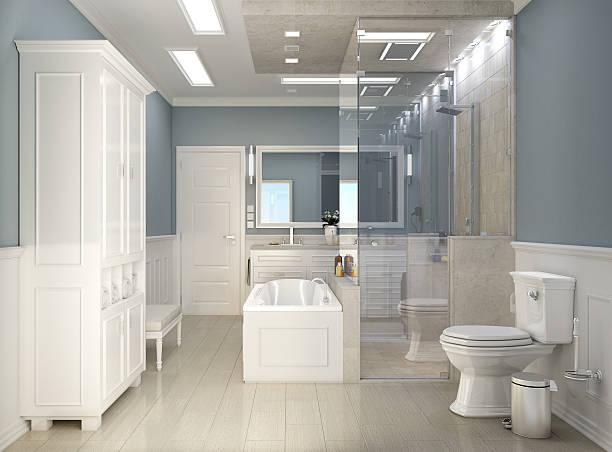 klassisch modernes badezimmer mit wc - hellblaues zimmer stock-fotos und bilder