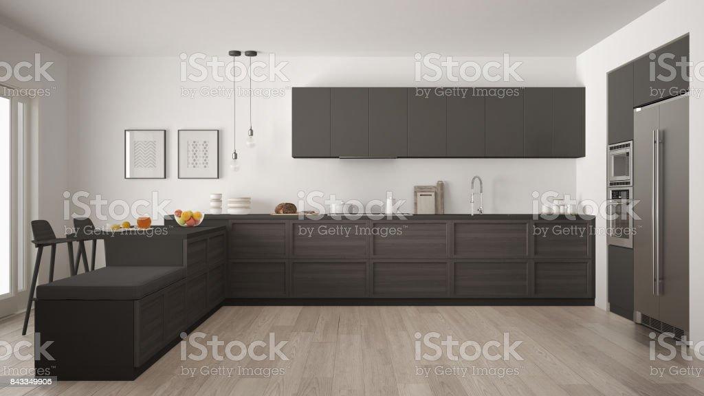 Klassische moderne küche mit holzelementen und parkettboden