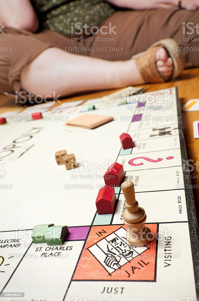 Classic Monopoly Close Up on the Floor stock photo