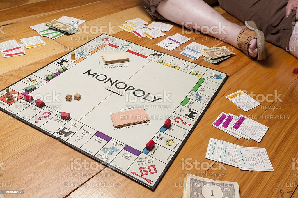 Classic Monopoly Game Diagonal on the Floor stock photo