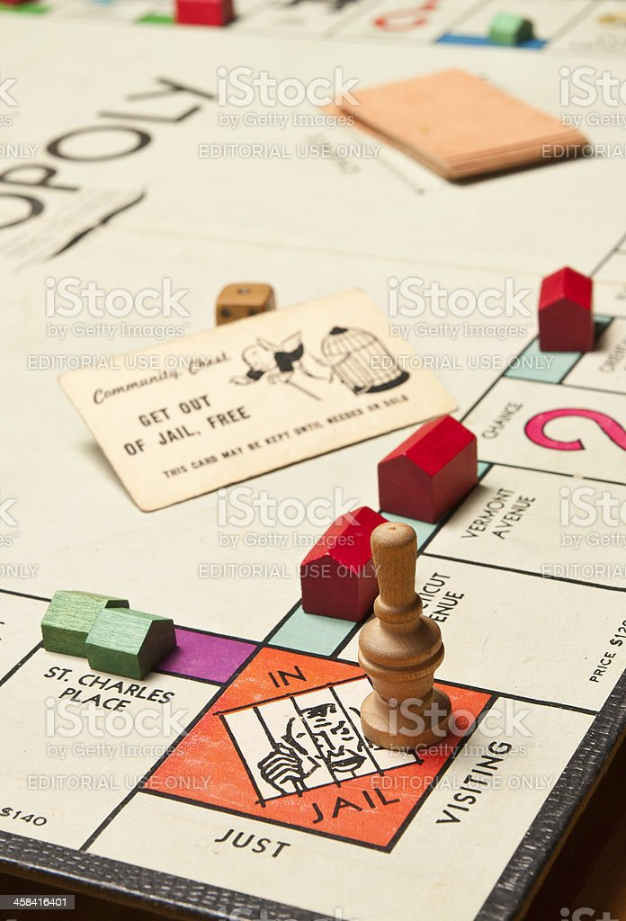 Classic Monopoly Game, Jail Corner Close Up stock photo