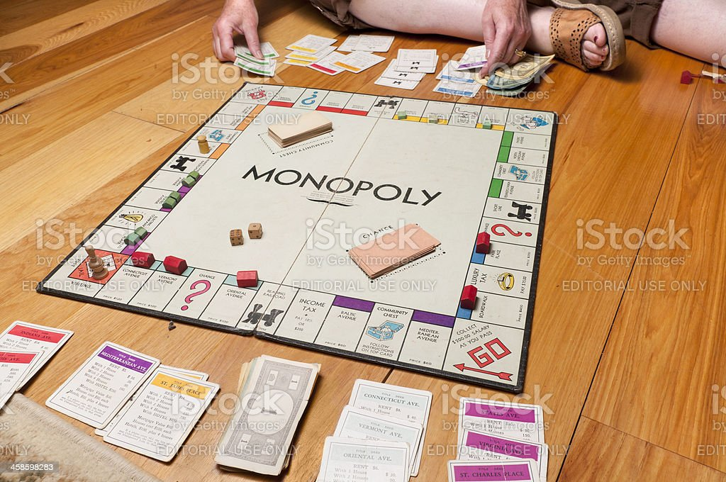Classic Monopoly on the Floor stock photo