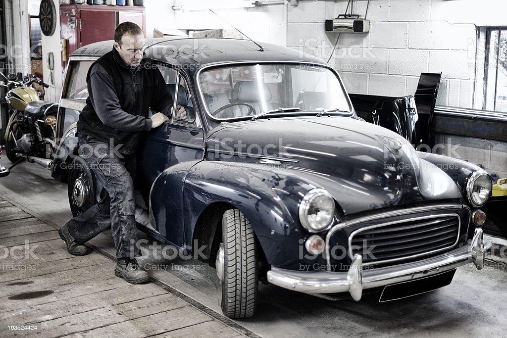 Classic Morris Minor Traveller repair stock photo