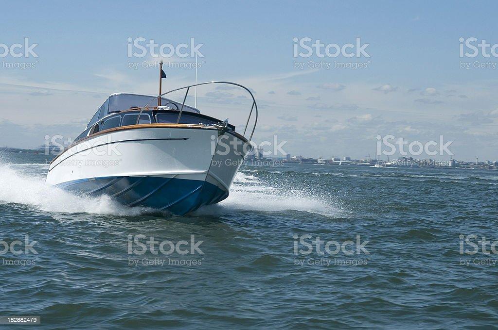 Classic Motor Boat stock photo