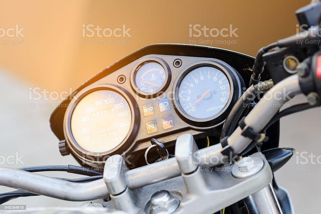 Classic motorbike control panel stock photo