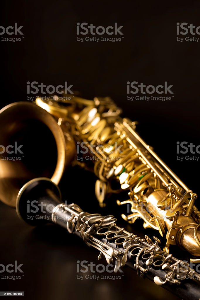 Classic Music Sax Tenor Saxophone And Clarinet In Black