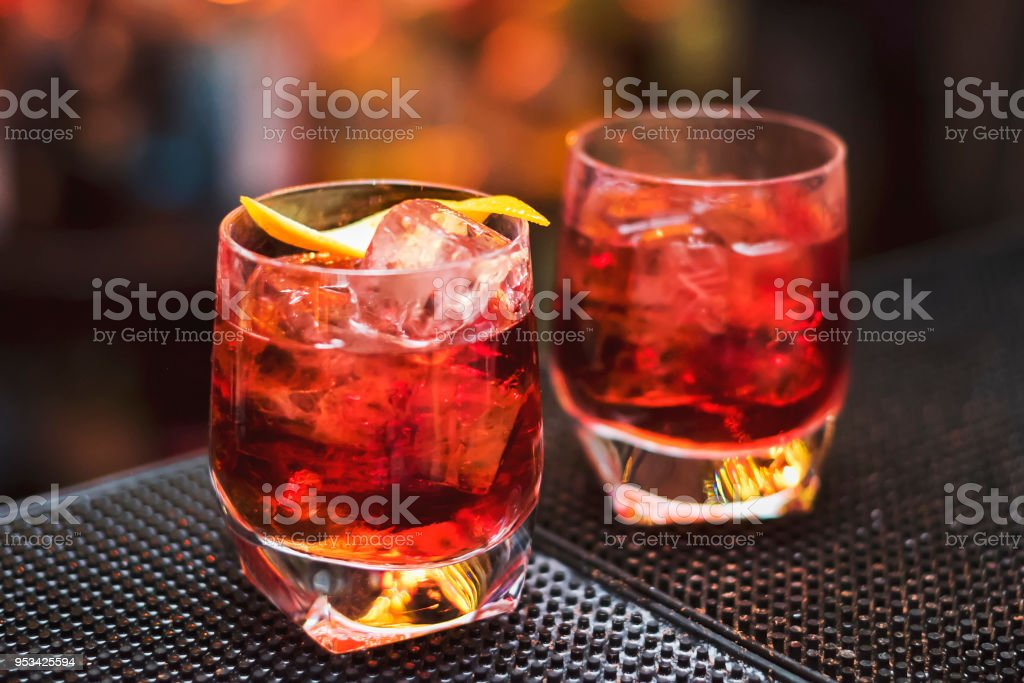 Classic Negroni Cocktail on the bar table stock photo