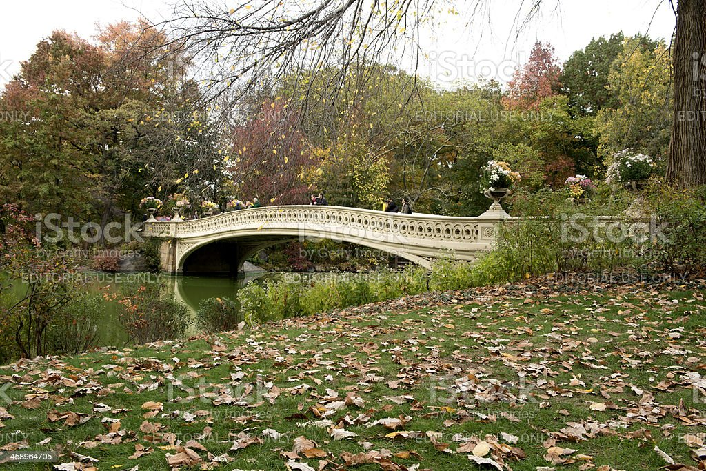 Classic NYC Architecure Landmark in Central Park Bow Bridge stock photo