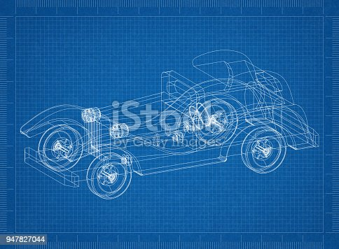 Classic old car 3d blueprint stock photo more pictures of antique classic old car 3d blueprint stock photo more pictures of antique istock malvernweather Images