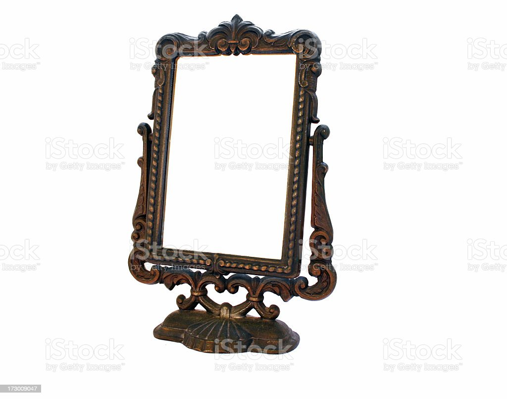 Classic old mirror design against white background royalty-free stock photo