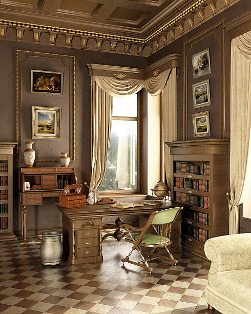 klassische alte studio mit arbeitsplatz schreibtisch und alte gegenstände. - arbeitszimmer möbel stock-fotos und bilder