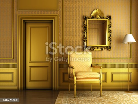 istock classic palace interior with armchair mirror and golden molding 146759991