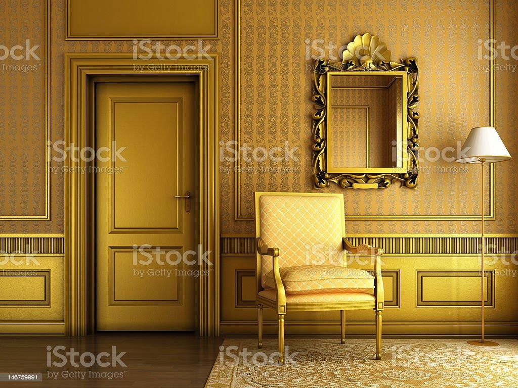Intérieur du palais classique avec miroir fauteuil et Moulure dorée - Photo
