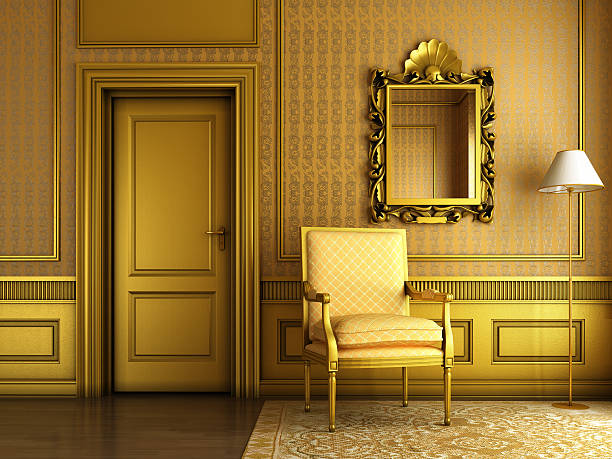 classic palace interior with armchair mirror and golden molding - baroque stock photos and pictures