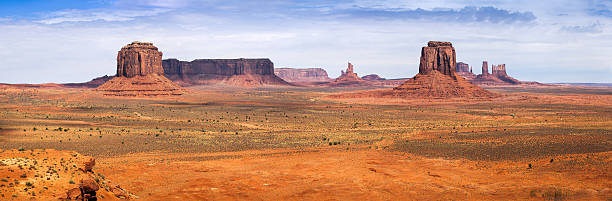 Classic Panorama of American West, Monument Valley stock photo