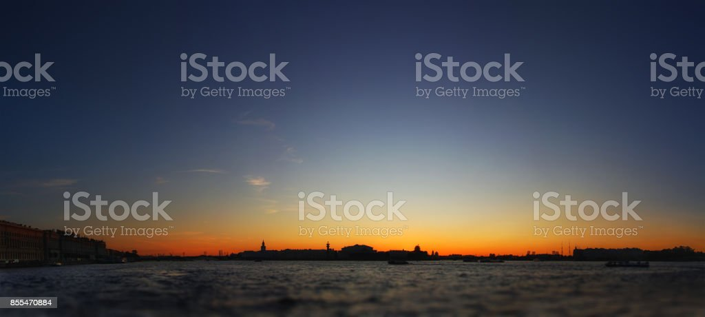 Classic panoramic view of Saint-Petersburg ( St.Petersburg ) river scape at sunset stock photo
