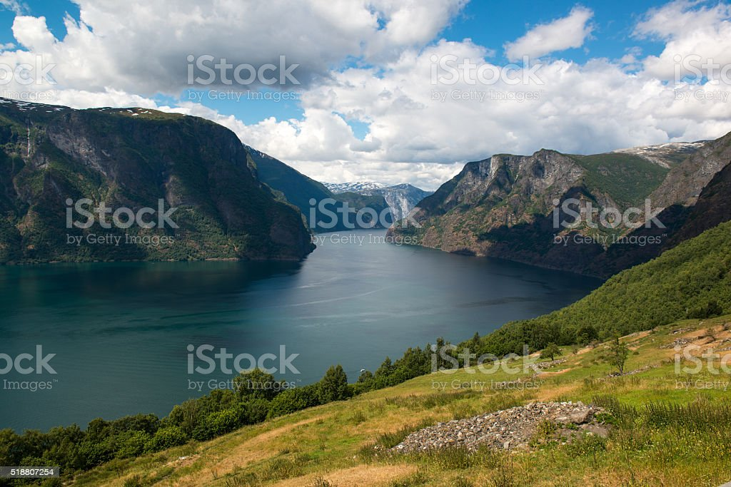 Classic panoramic view to the fjord, Aurlandsfjellet, Norway stock photo