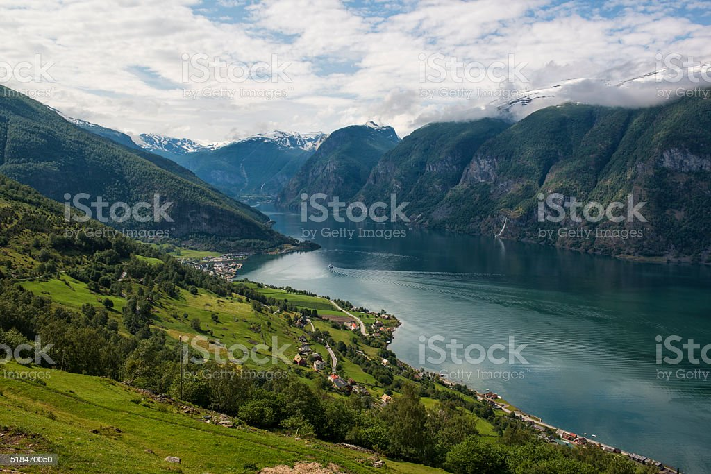 Classic panoramic view to the fjord from viewpoint, Norway. stock photo