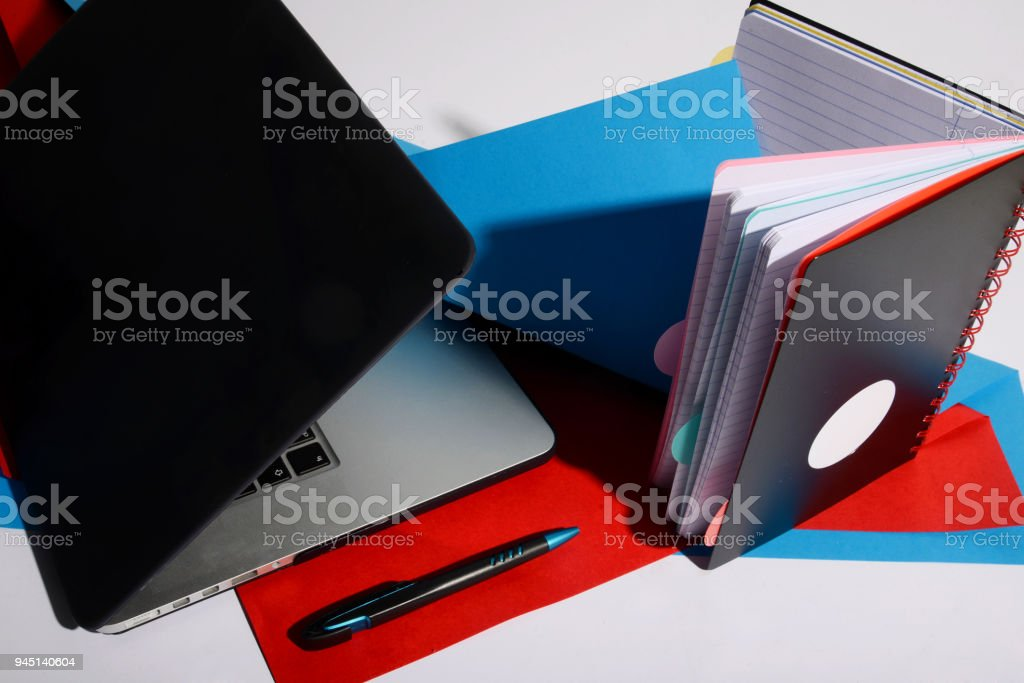 classic paper and computer notebook concept stock photo