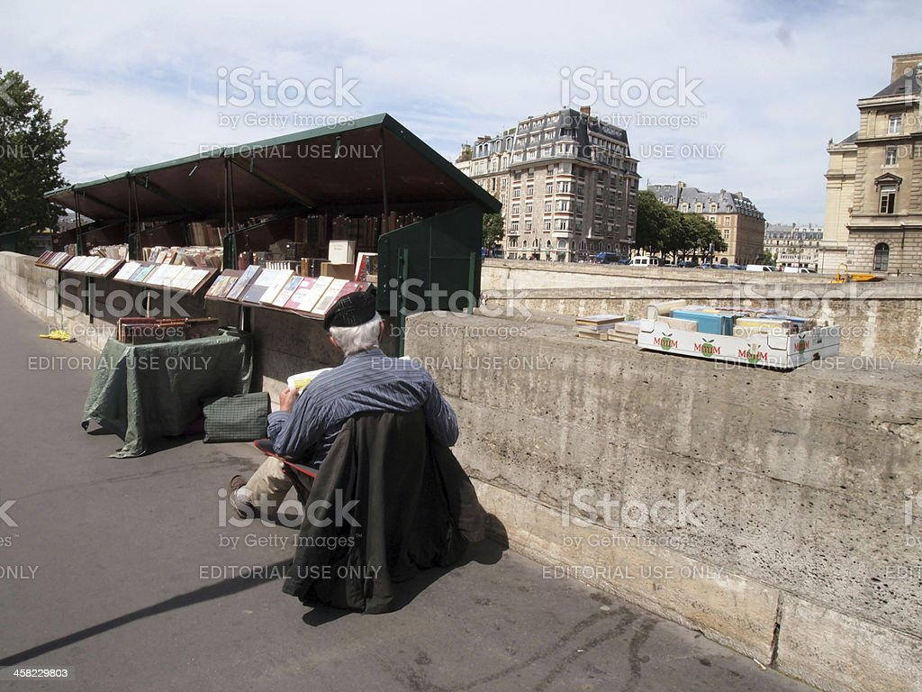 Classic Parisian bookseller along the Seine. stock photo