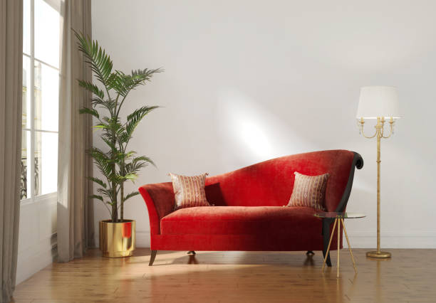 Classic Parisian luxury interior with red chaise lounge 3d Rendering of a Classic Parisian luxury interior with red chaise lounge and gold floor lamp chaise longue stock pictures, royalty-free photos & images