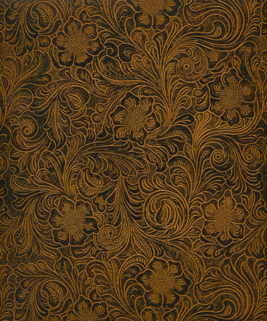 High resolution classic Art Nouveau woodcut pattern on faux leather surface, works great for antique, ornamental, vintage and more!
