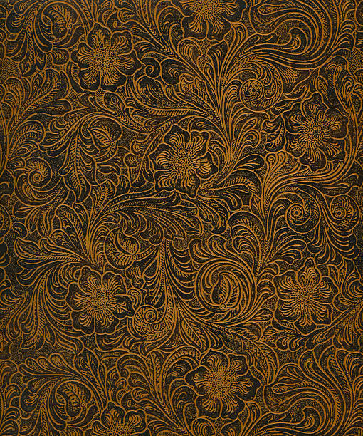 classic pattern on faux leather - art nouveau stock photos and pictures