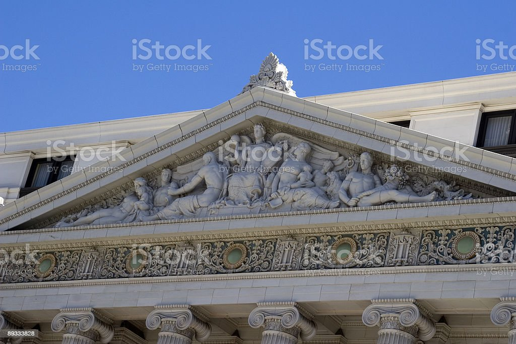 Classic Pediment of Hotel San Francisco stock photo