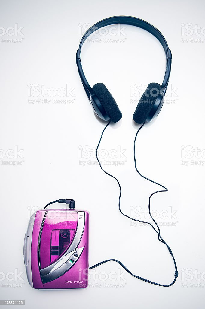 Classic Personal Tape Player and Headphones stock photo