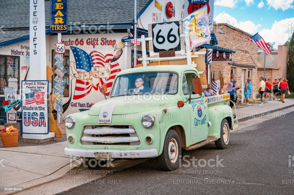 Classic pickup truck on Historic Route 66 in Seligman Arizona stock photo