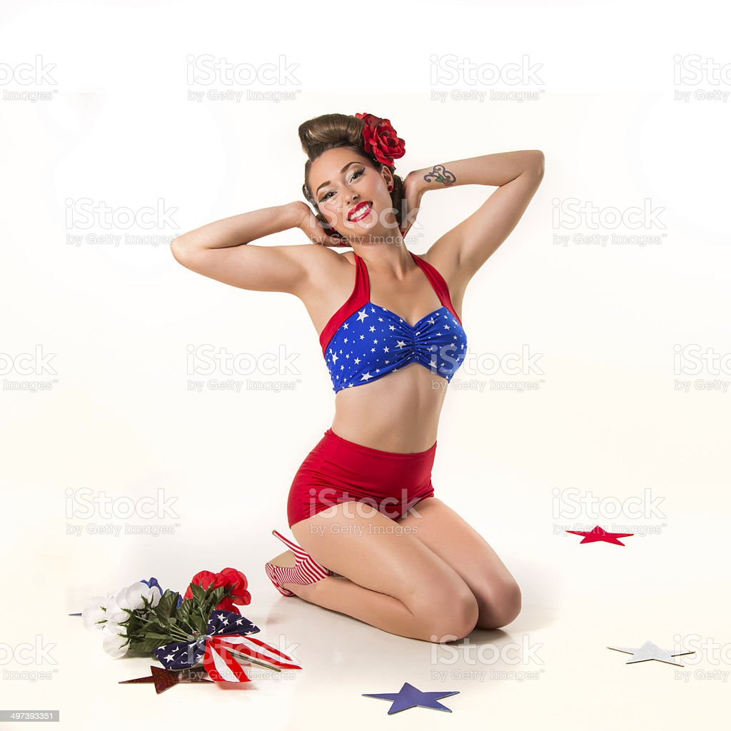 Classic Pin-Up pose stock photo