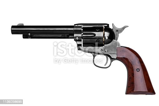 classic pistol revolver isolated on white background